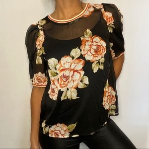 A New Day Black Sheer Floral Top
